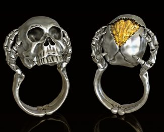 Skull ring with opal brain