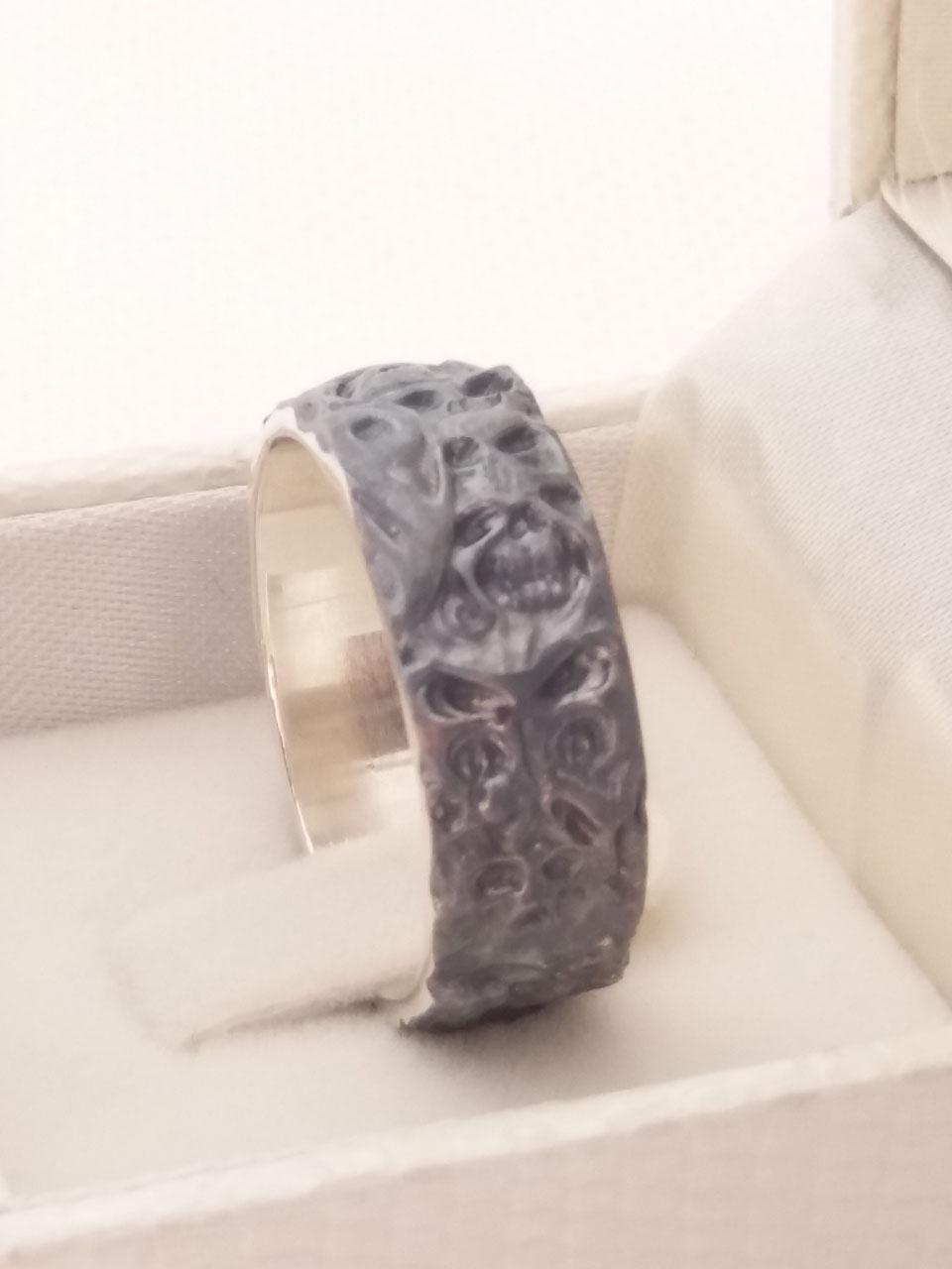 bikers skull ring pattern ring silver skull ring Ring of Demons Man Skull Ring Gothic jewelry