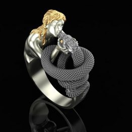 Girl kissing snake ring