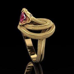 Snake biting a ruby