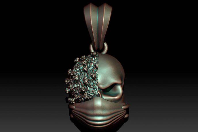 Covid-19 Masked Skull Pedant