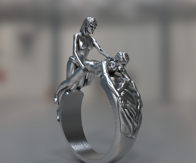 Two women doggy style sexual ring