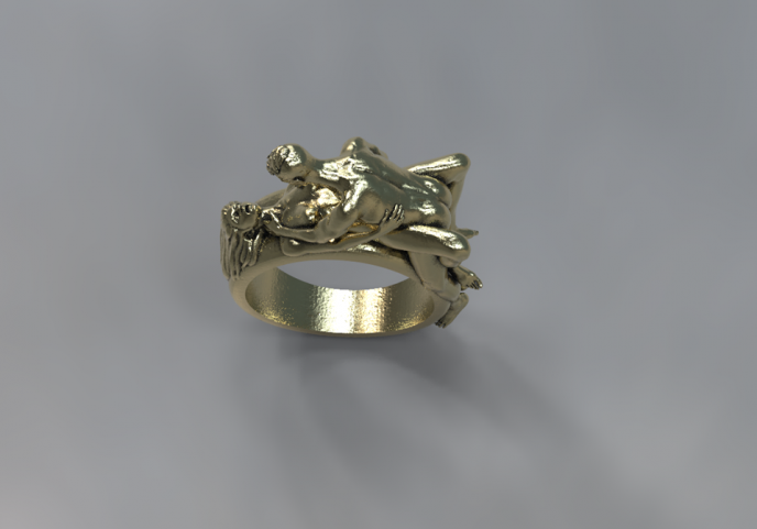 Nude couple missionary position ring